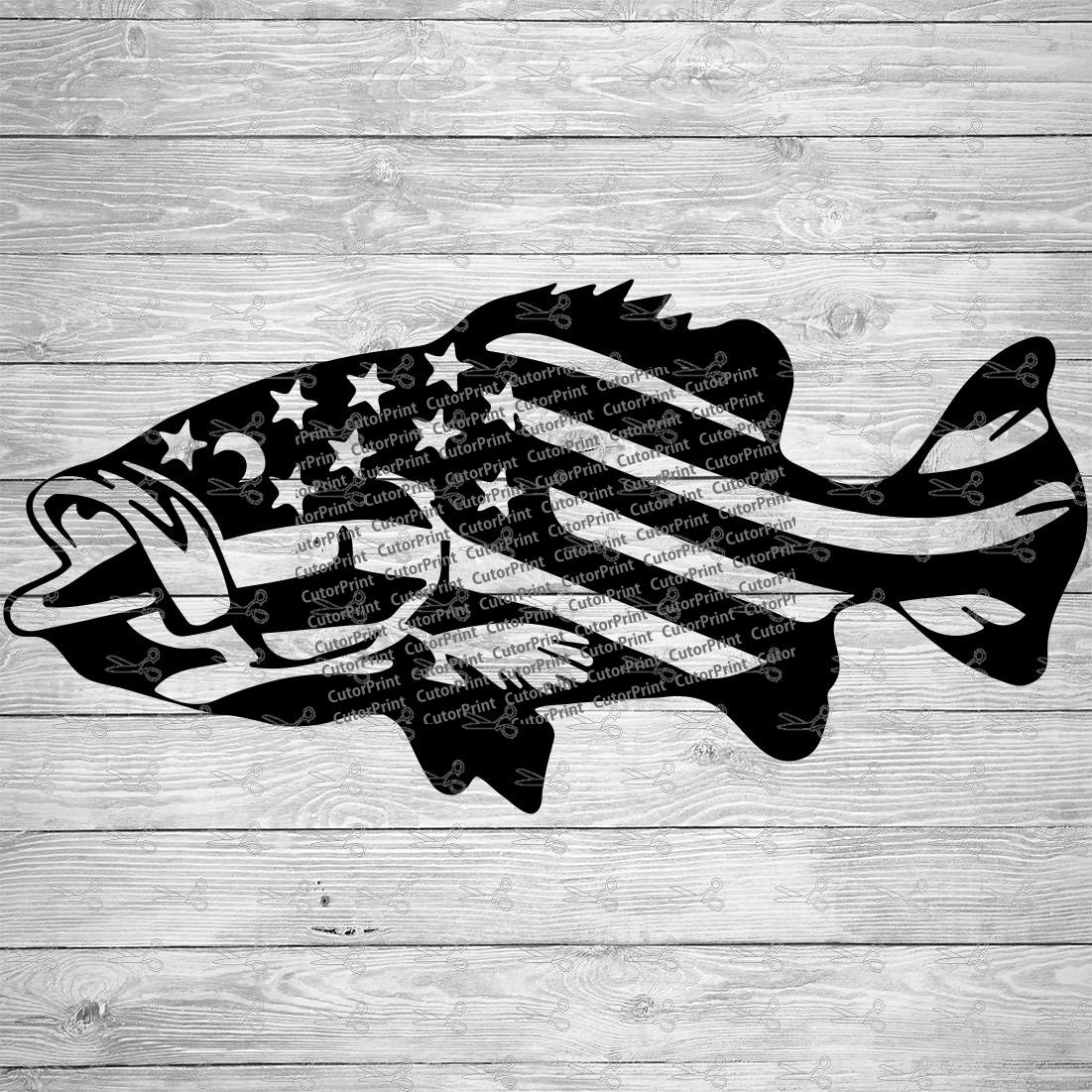 Download American Flag Fish Svg Eps Png Files Digital Download Files For Cricut Silhouette Cameo And More