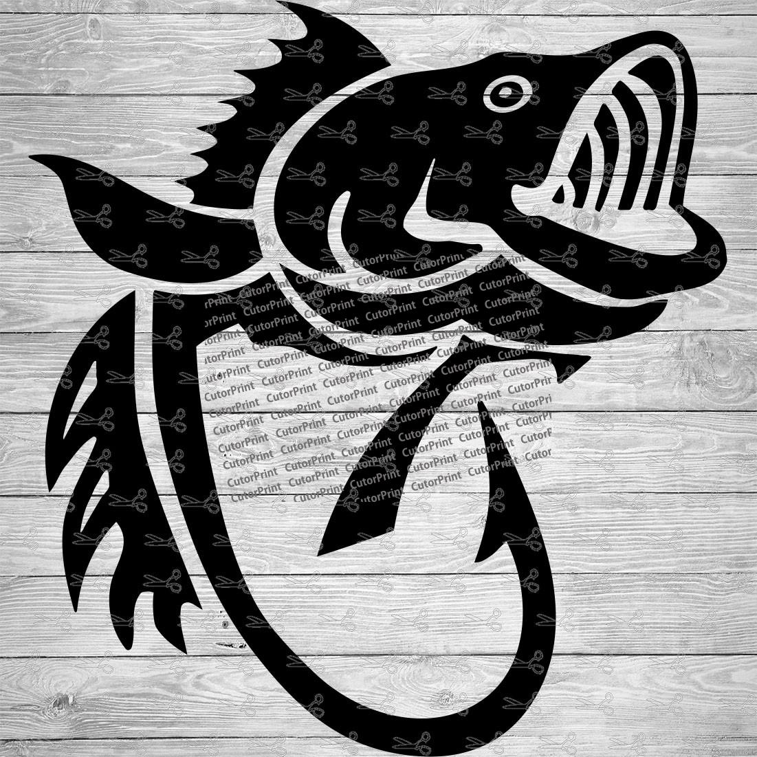 Download Bass Fishing Hook Svg Eps Png Files Digital Download Files For Cricut Silhouette Cameo And More